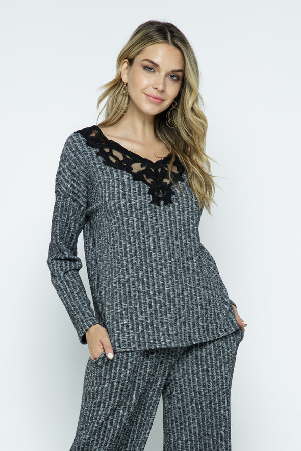 Textured Lace Front Loungewear Set