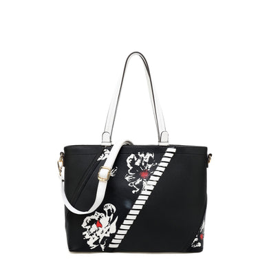 Tote With Floral Design.  Zip Closure And Crossbody Strap