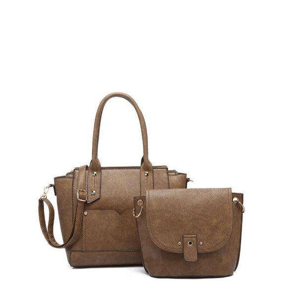 Textured Double Handle Satchel Bag N Bag