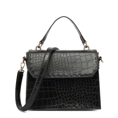 Croc Textured Snap Closure Crossbody  Bag