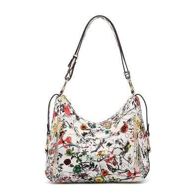 Floral Slouchy Hobo Bag With Zipper And Tassel Detail