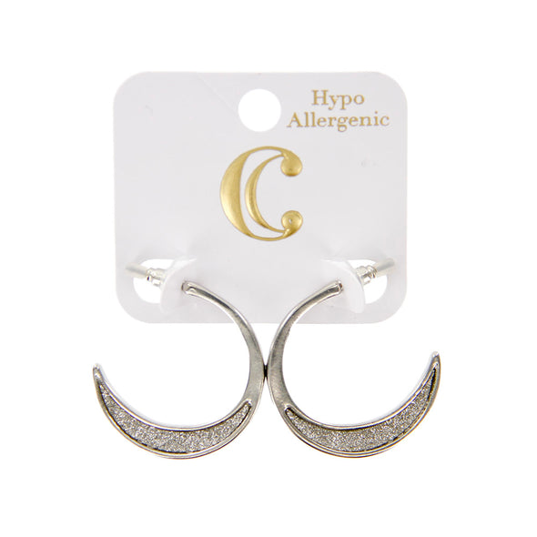 "1.25"" Metal Glitter Inset Small Hoop Earrings - Charming Charlie"