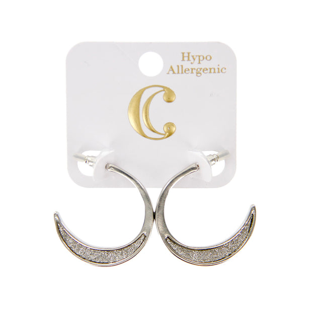 "1.25"" Metal Glitter Inset Small Hoop Earrings"