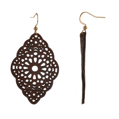 Faux Leather Fish Hook Earring - Scalloped Edge - Brown - Charming Charlie