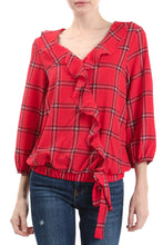 Load image into Gallery viewer, 3/4 Sleeve V-Neck Ruffle Front Wrap Top, Red Plaid