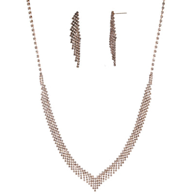 16-Inch Rhinestone Necklace and Earring Set - Rose Gold - Charming Charlie