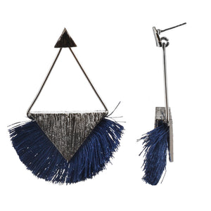 "2.5"" Metal Post Drop w/ Bottom Fringe Rhodium - Blue"