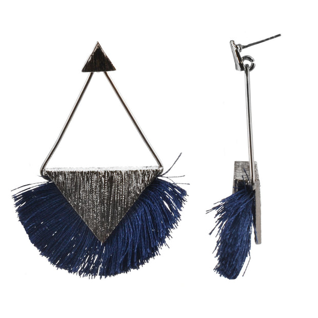 "2.5"" Metal Post Drop w/ Bottom Fringe Rhodium - Blue - Charming Charlie"