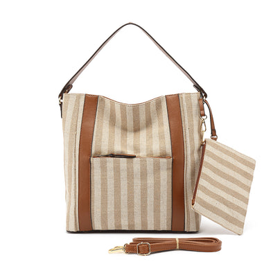 Canvas Stripe Hobo With Wristlet