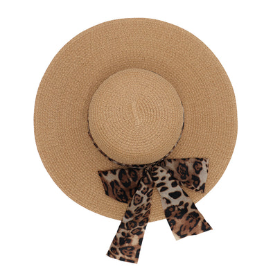 Paper Straw Summer Floppy Hat With Leopard Bow