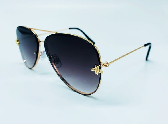 Gradient Lens Aviator with Bee Temple Detail Sunglasses - Grey & Gold