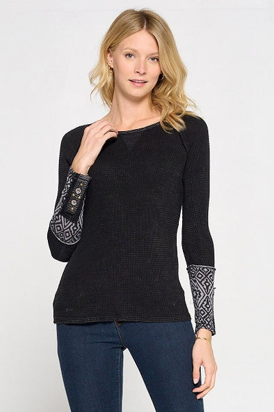 Cotton And Rayon Novelty Sleeve Detail Top