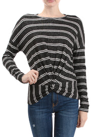 Long Sleeve Crew Neck Twist Hem Top, Black/Ivory