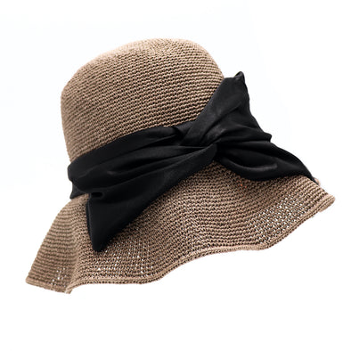 Floppy Hat With Wire Brim And Satin Bow