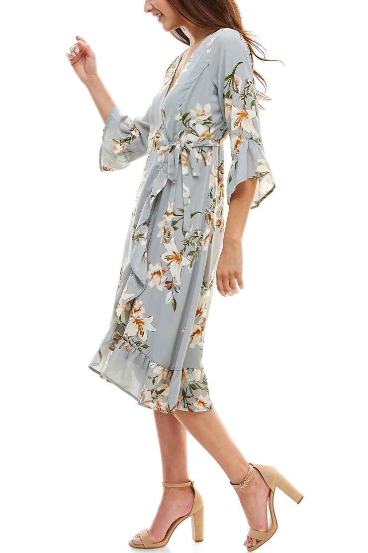 V Neck 3/4 Sleeve Wrap Dress - Charming Charlie