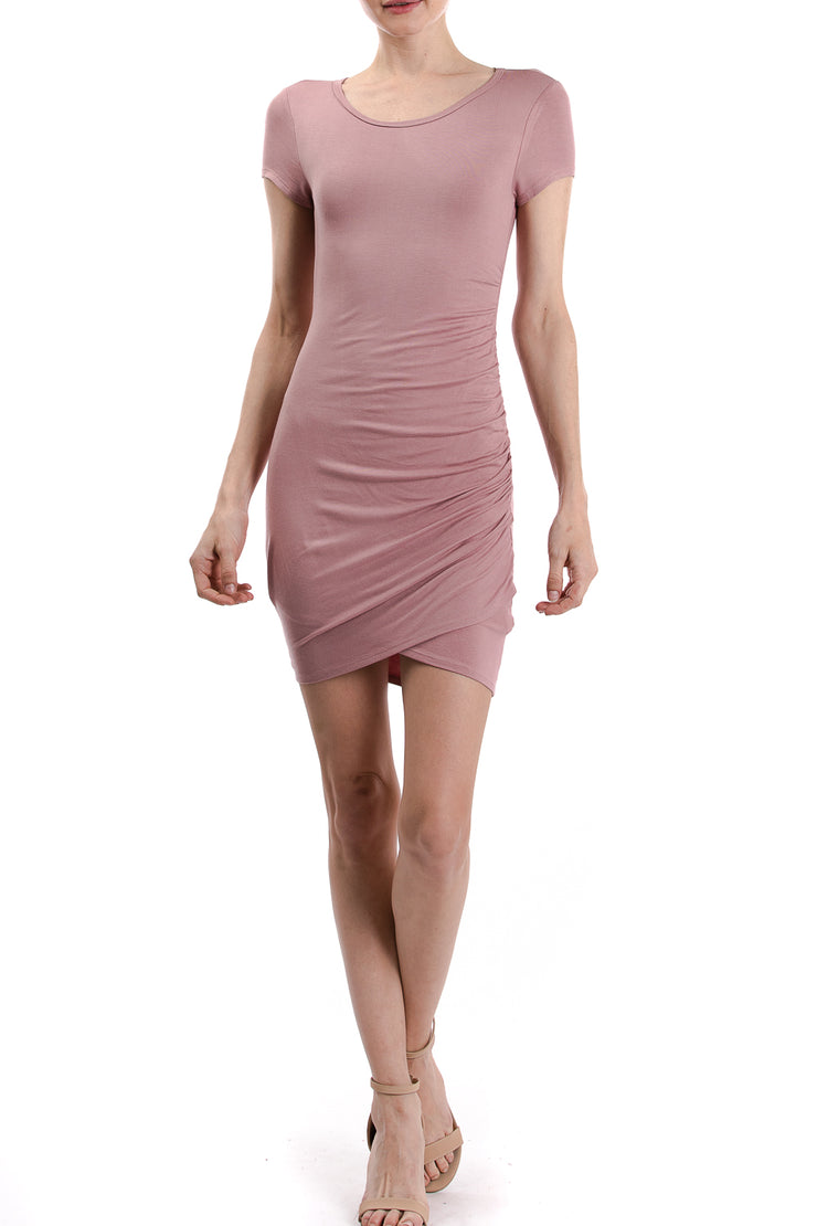 Short Sleeve Round Neck Side Ruching Dress, Mauve