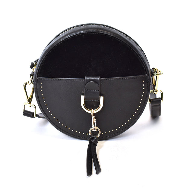 PU Suede and Leather Canteen Crossbody - Charming Charlie