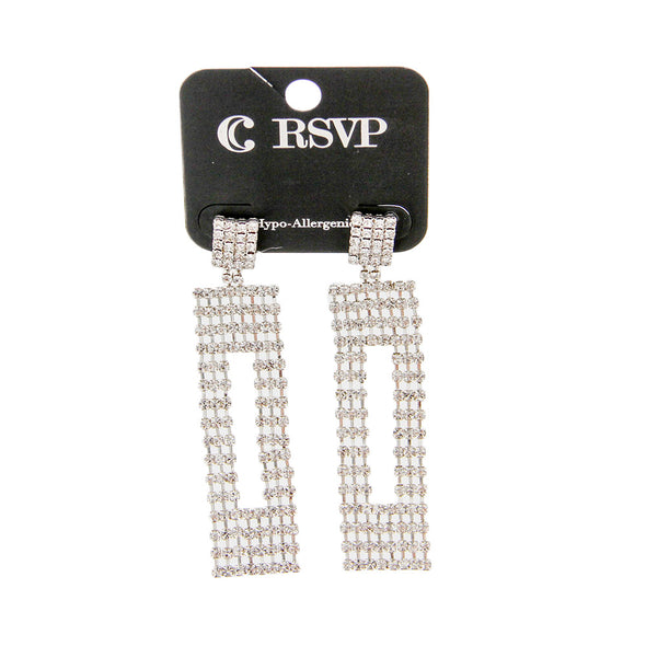 "3"" Oversized Statement Rhinestone Earrings - Charming Charlie"