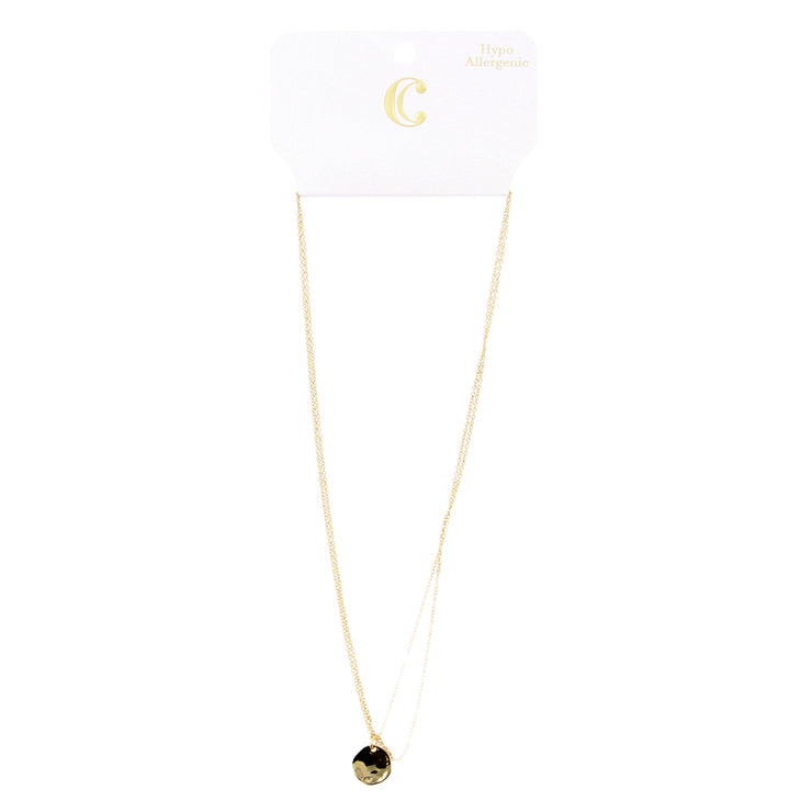 "16"" Double Strand Layered Short Pendant Necklace - Gold"