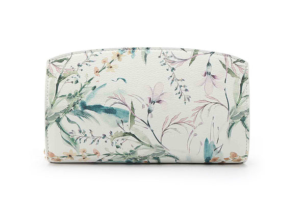 Floral Print White Ground Simple East West Crossbody