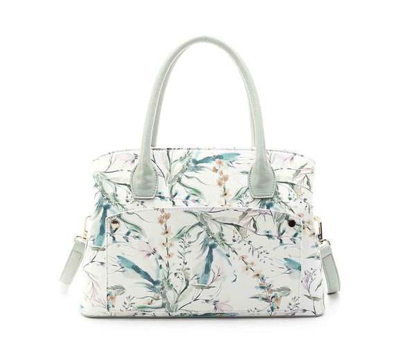 Floral Print White Ground East West Satchel W Mid Pocket