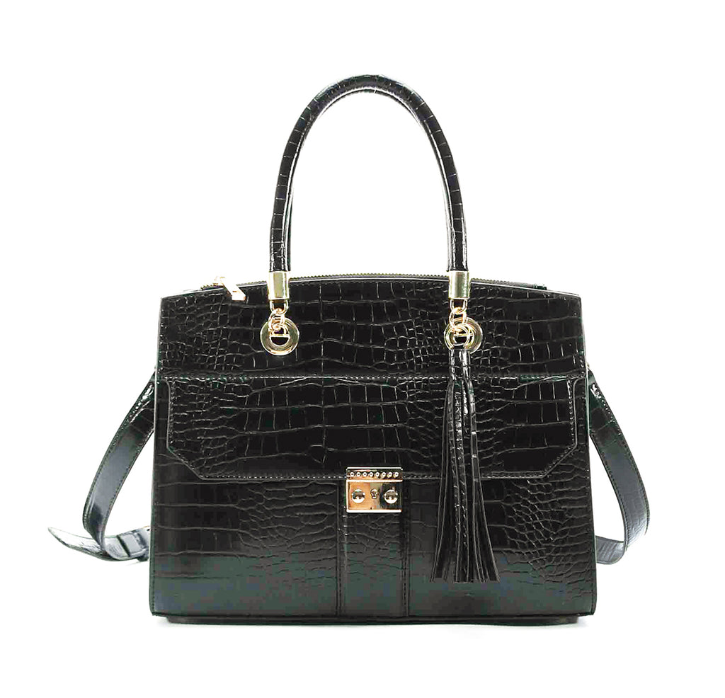 Large Croco Satchel Handbag