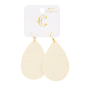 "2.5"" Faux Leather Fabric Teardrop Earrings - White - Charming Charlie"