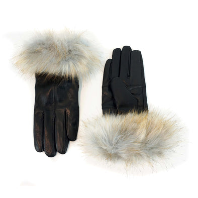 Black Genuine Leather Gloves with Faux Fox Fur Cuffs