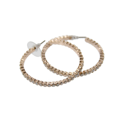 Rhinestone Inset Post Hoop Earrings