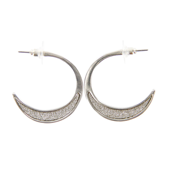 Metal Glitter Inset Small Hoop Earrings