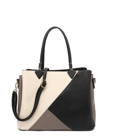 Zipper Closure Colorblock Tote
