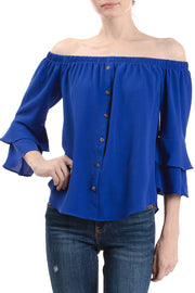 3/4 Ruffle Sleeve Off the Shoulder Blouse, Royal Blue - Charming Charlie