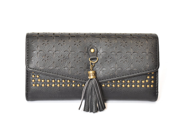 Laser Cut Fold Over Tassel Wallet
