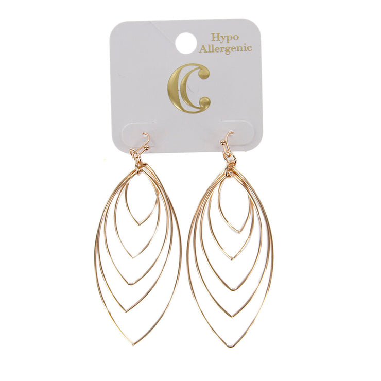 "3"" Layered Metal Wire Fish Hook Drop Earrings - Charming Charlie"