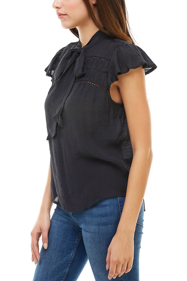 Tie Neck Short Sleeve Eyelet Top - Charming Charlie