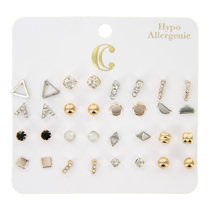 Metal & Rhinestone Stud Earrings - 16 Pairs, Gold/Silver
