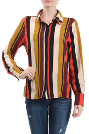 Long Sleeve Button Down Collared Blouse, Multi Stripe - Charming Charlie