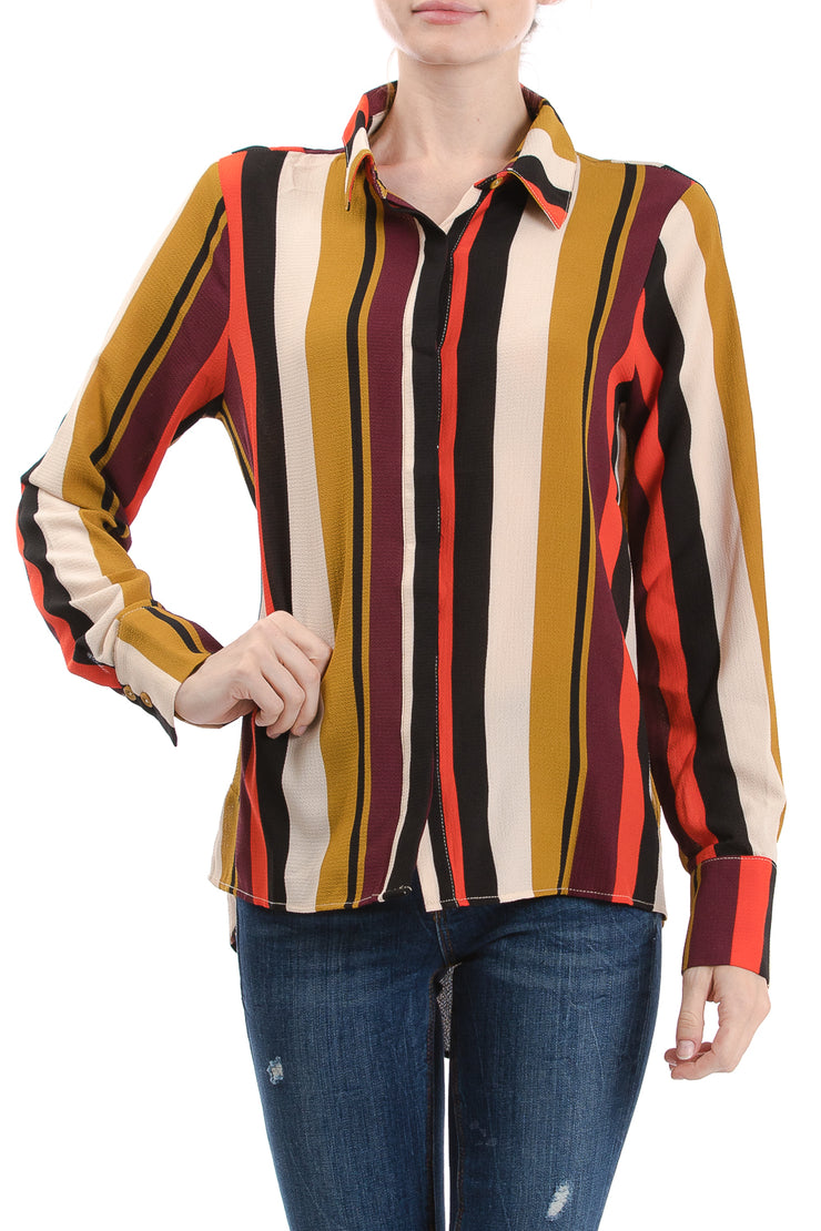 Long Sleeve Button Down Collared Blouse, Multi Stripe