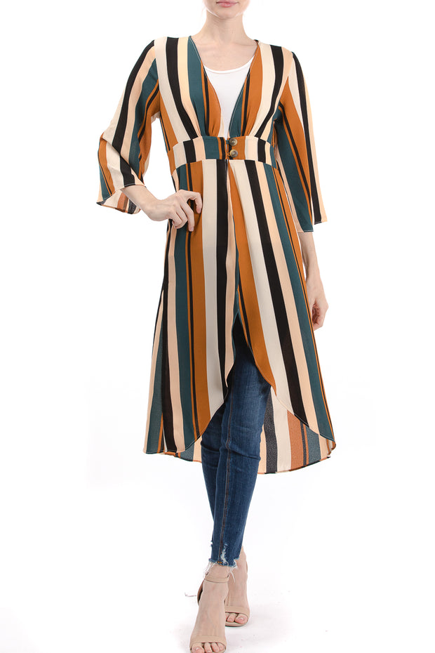 Long Sleeve V-Neck Duster Kimono, Multi Stripe