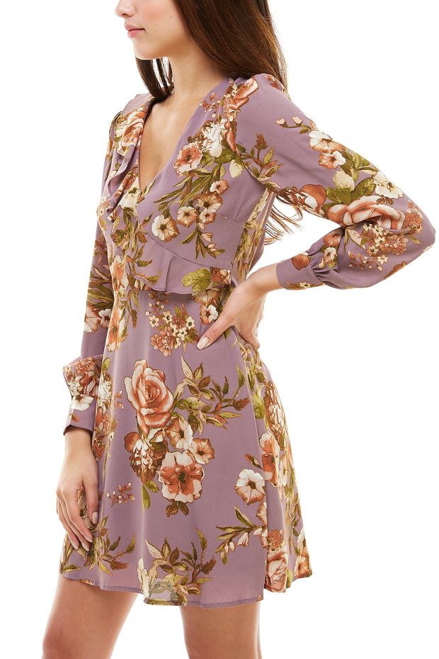 Ruffle V Neck Floral Dress - Charming Charlie