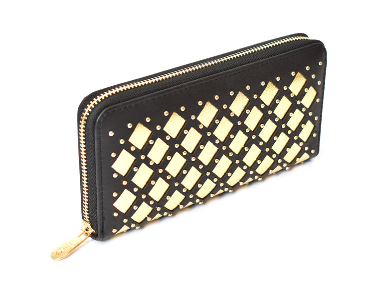 Metallic Quilted Stud Wallet