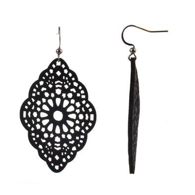 Faux Leather Fish Hook Earring - Cut-Out Scalloped Edge - Black - Charming Charlie