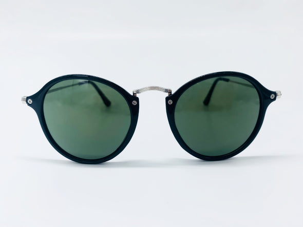 Retro Round Thin Frame Sunglasses - Black & Silver