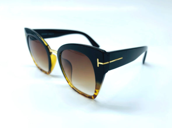 Cat Eye with Gold Temple Detail Sunglasses - Brown & Gold