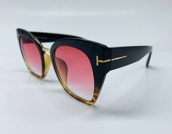 Cat Eye with Gold Temple Detail Sunglasses - Brown/Pink & Gold