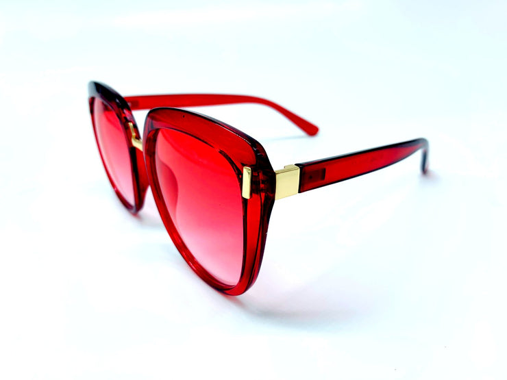 Oversized Rounded Cat Eye with Metal Details - Red & Gold