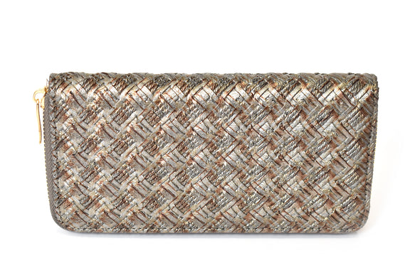 Metallic Quilted Zip Around Wallet
