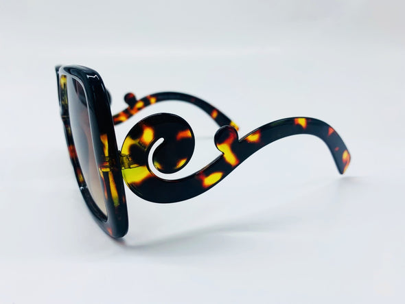 Oversized Square Lens with Swirl Detailed Arm Sunglasses - Brown