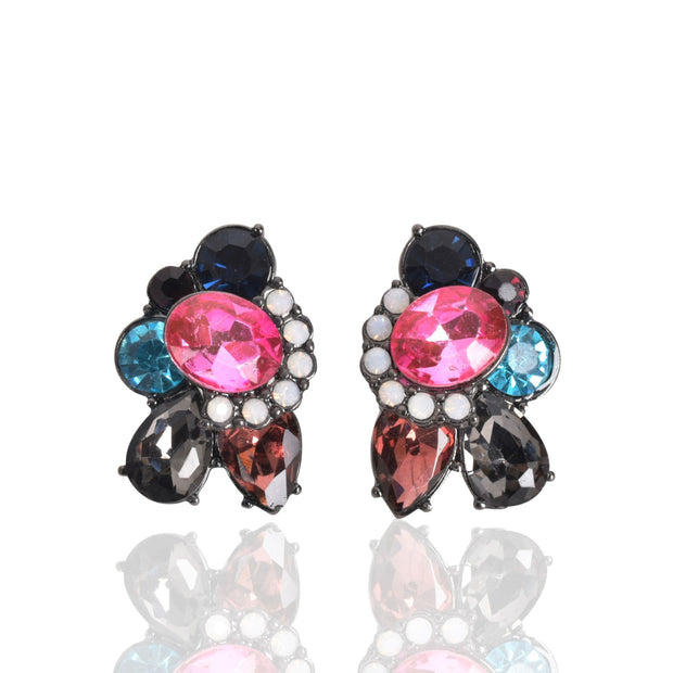 "1"" colorful Jewel tone Stud Earrings, Multi Color - Charming Charlie"
