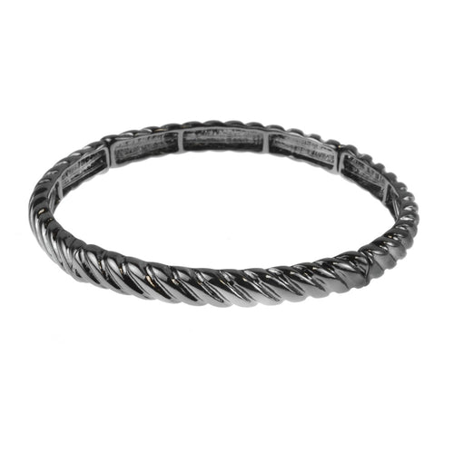 7.5-Inch Hematite Casted Hinged Bangle Bracelet - Silver